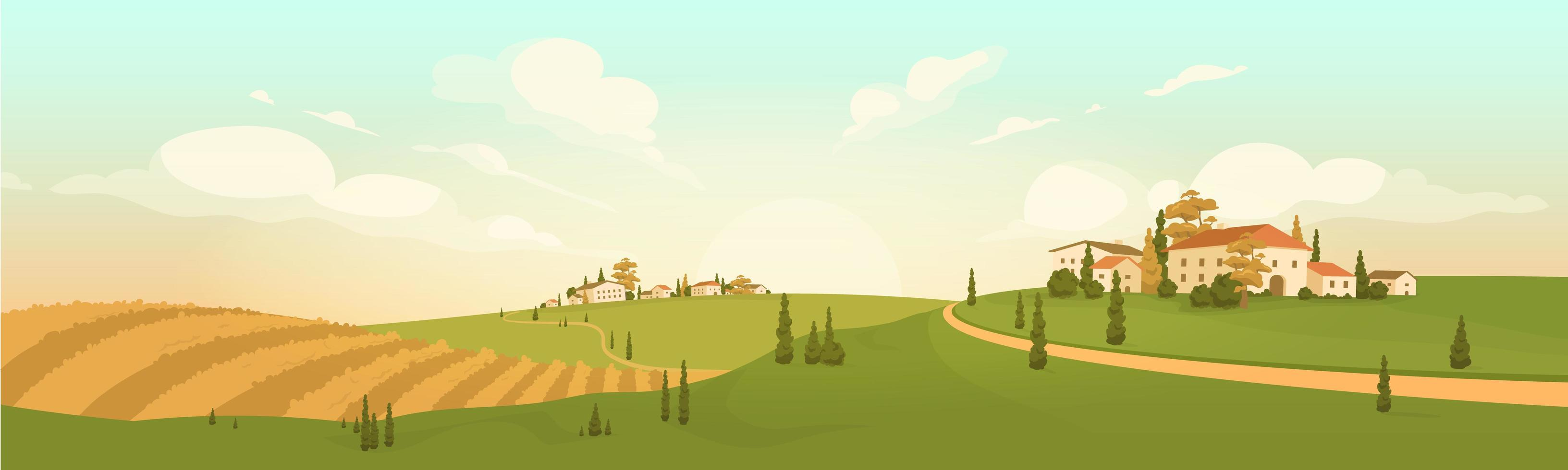 herfst in dorp op een heuvel vector