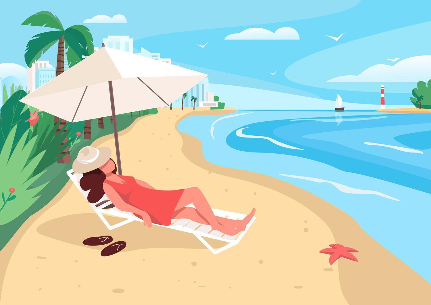 vrouw ontspannen aan zandstrand vector