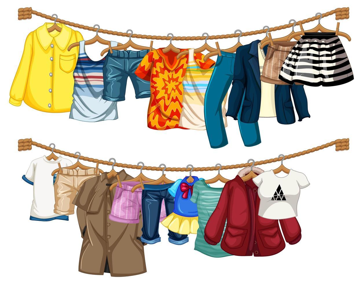 veel kleren hangen aan een lijn op een witte achtergrond vector