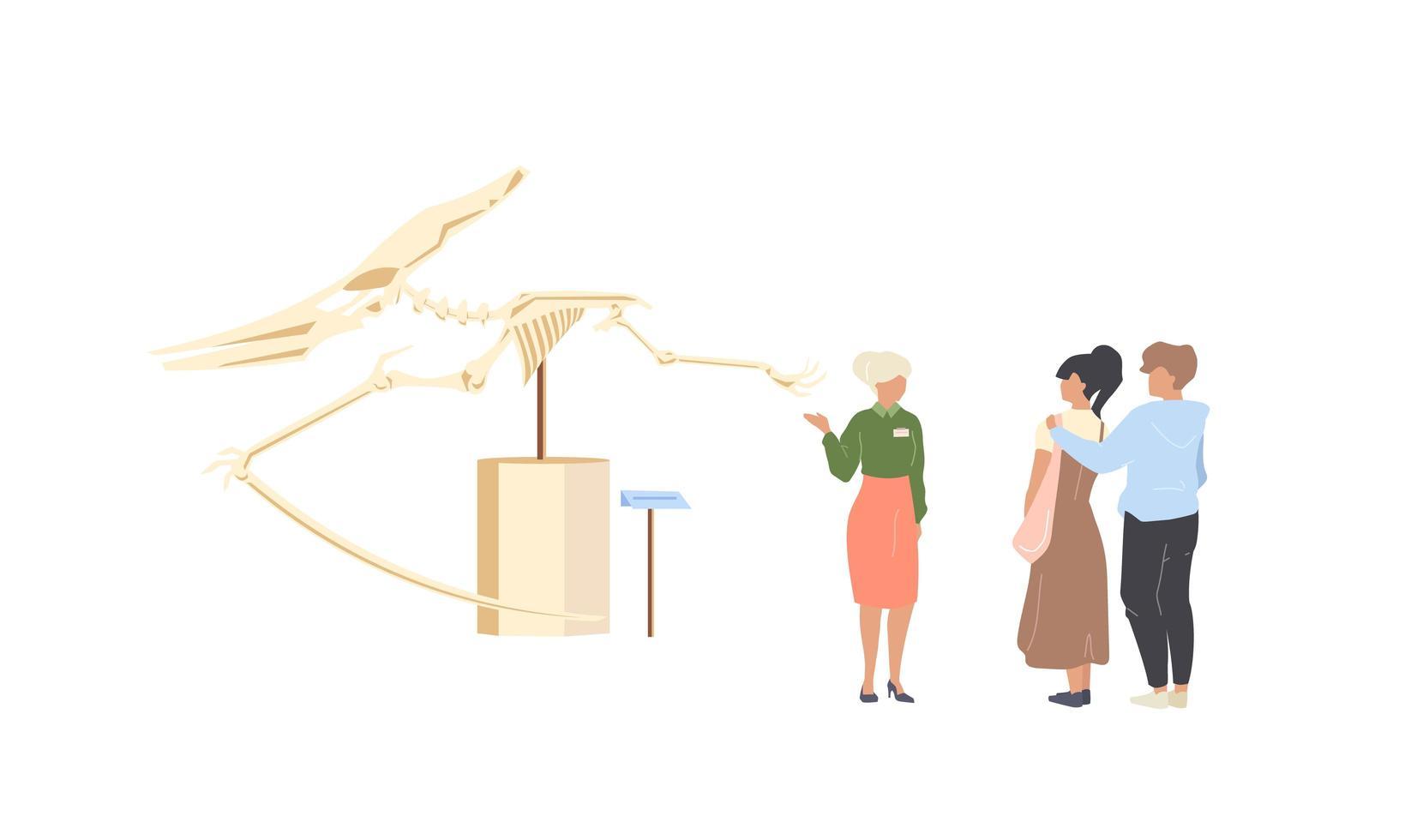 paleontologie museum toerist vector