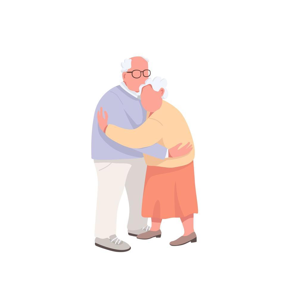 bejaarde echtpaar knuffelen vector