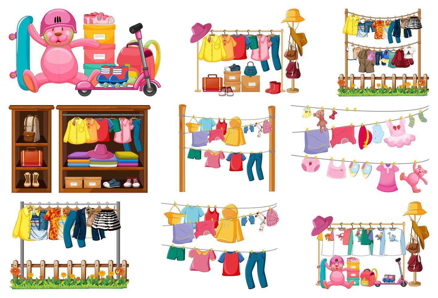 set van kleding, accessoires en garderobe geïsoleerd op een witte achtergrond vector