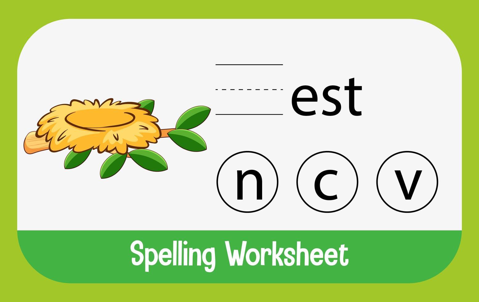 zoek ontbrekende letter met nest vector