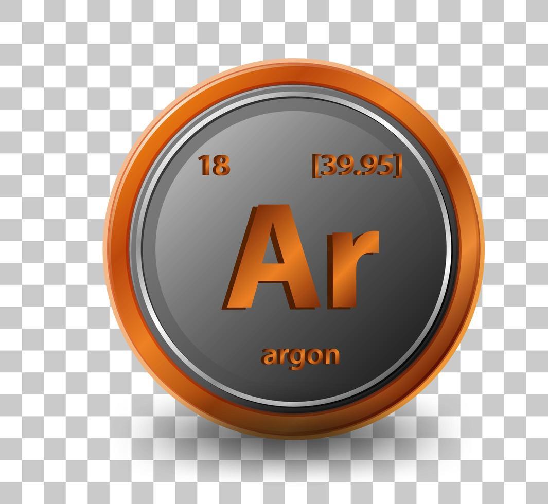 argon scheikundig element. chemisch symbool met atoomnummer en atoommassa. vector