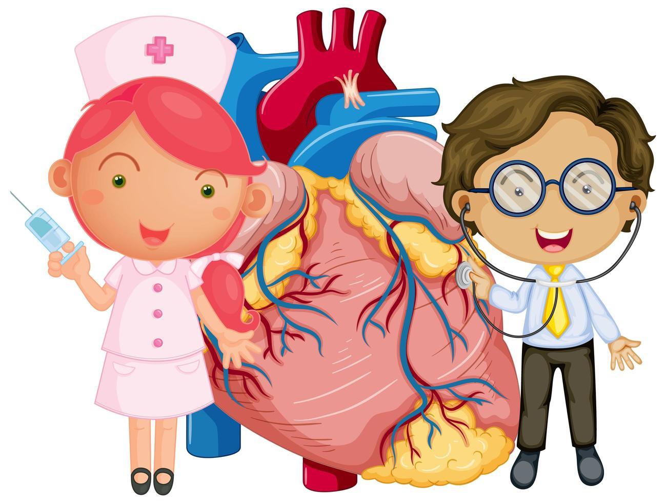 menselijk hart met een stripfiguur van een arts vector