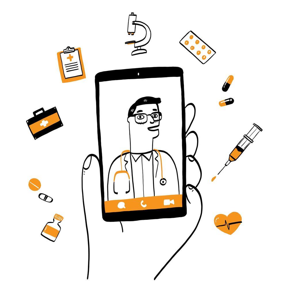 smartphonescherm met mannelijke therapeut online consultatie vector