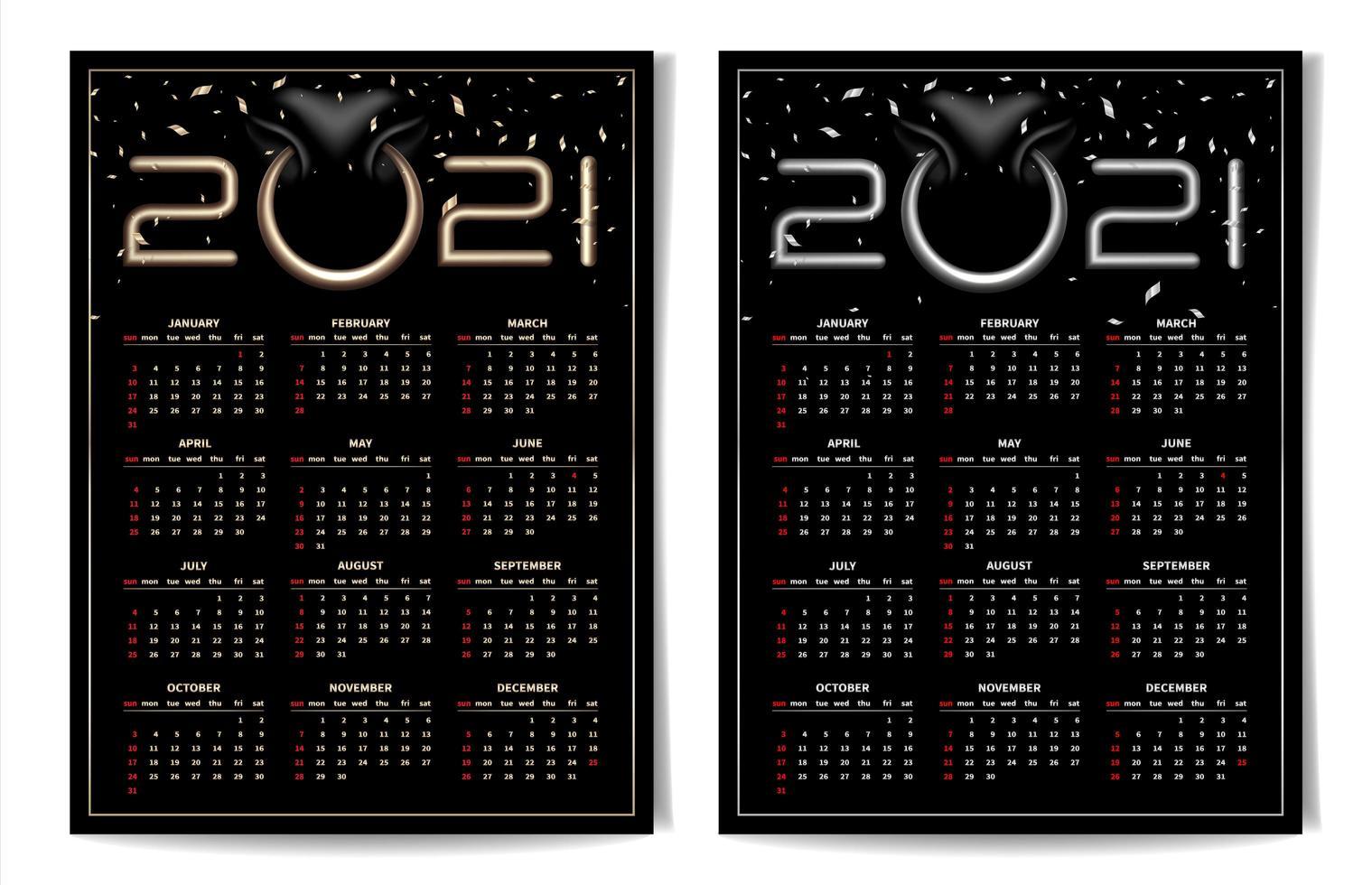 zwarte kalender 2021 bezet met bull nose ring vector