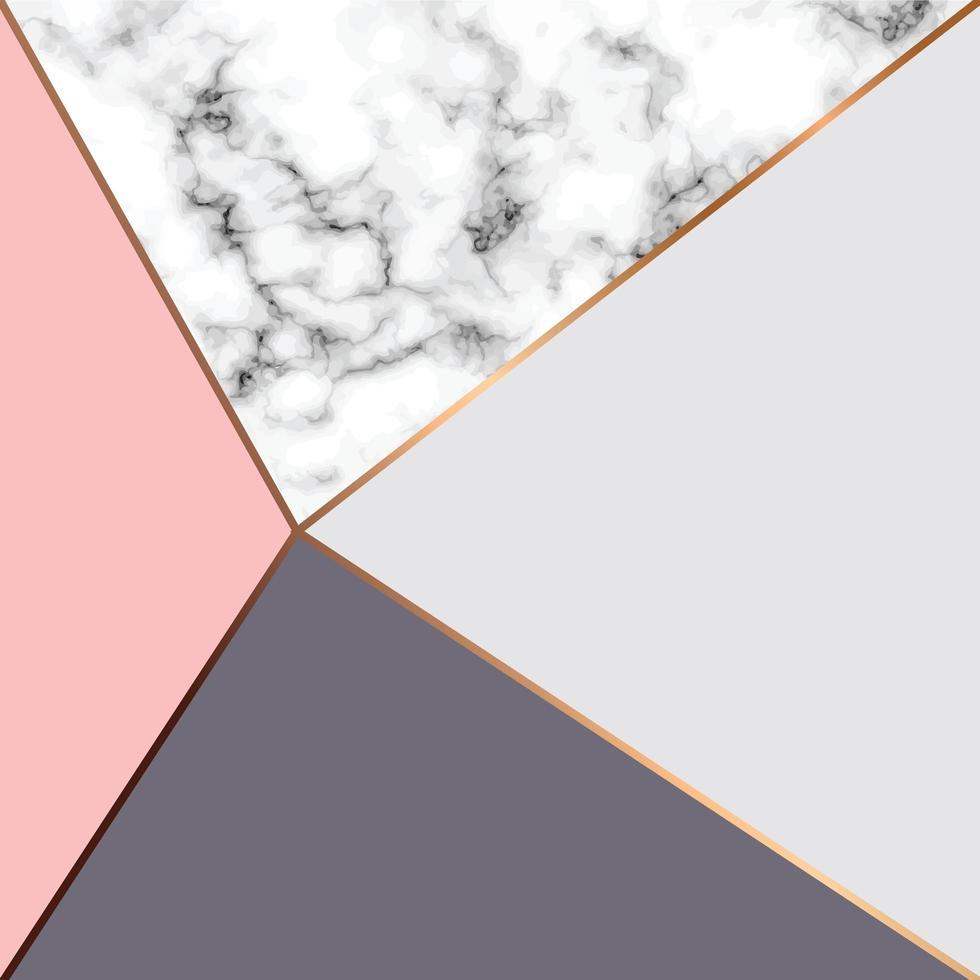 marmeren textuurontwerp met gouden geometrische lijnen vector