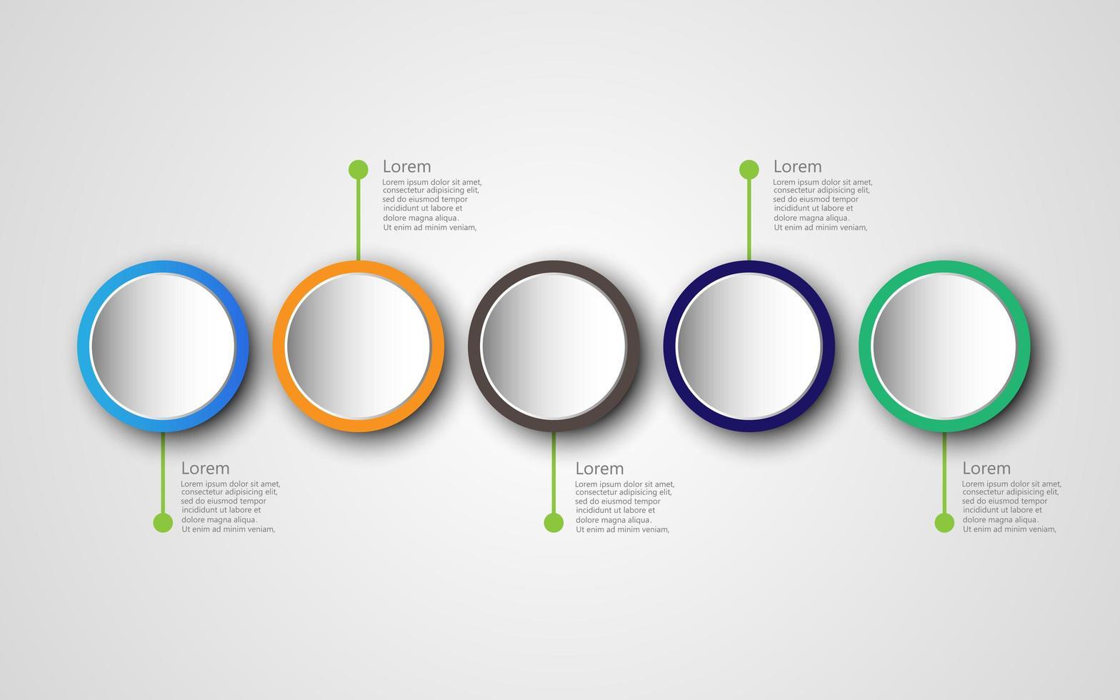 tijdlijn infographics ontwerpsjabloon met 5 opties, processchema vector