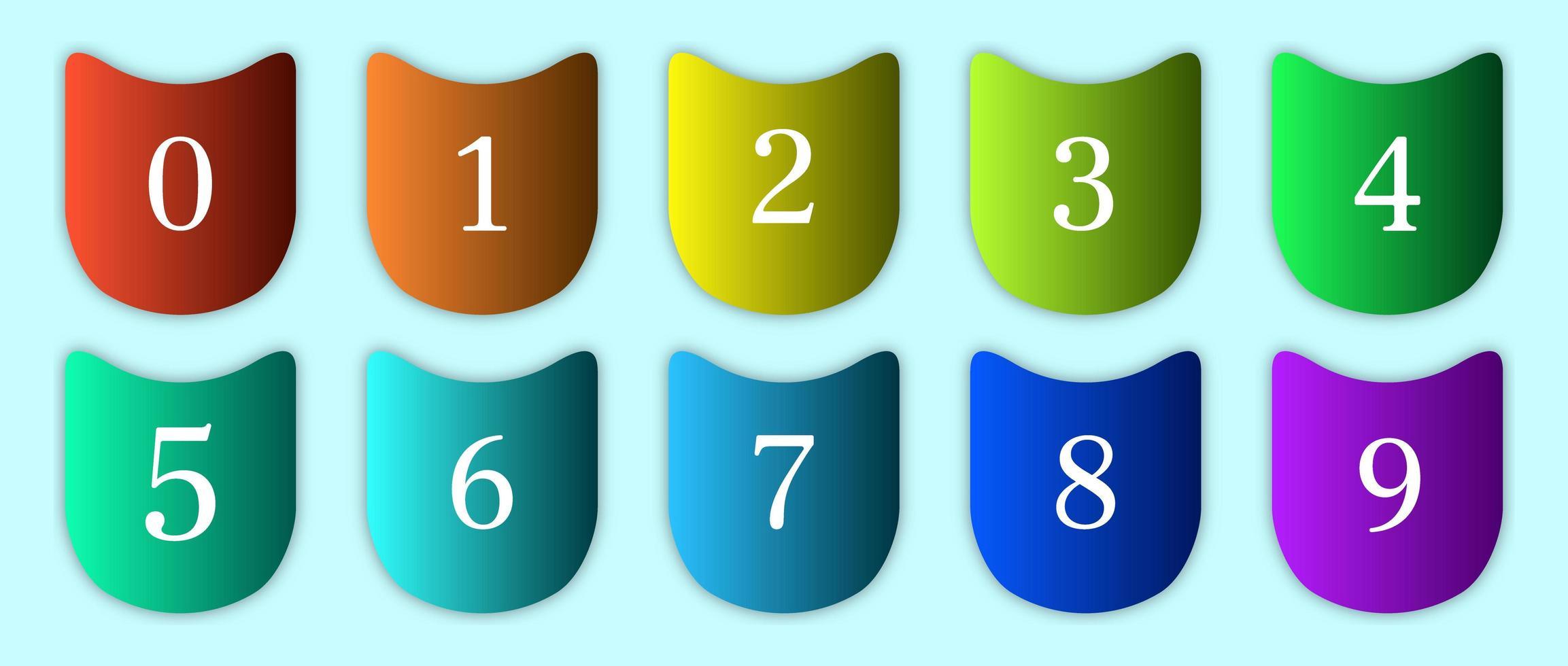 aantal getallen in gebogen kleurrijke verlopen vector