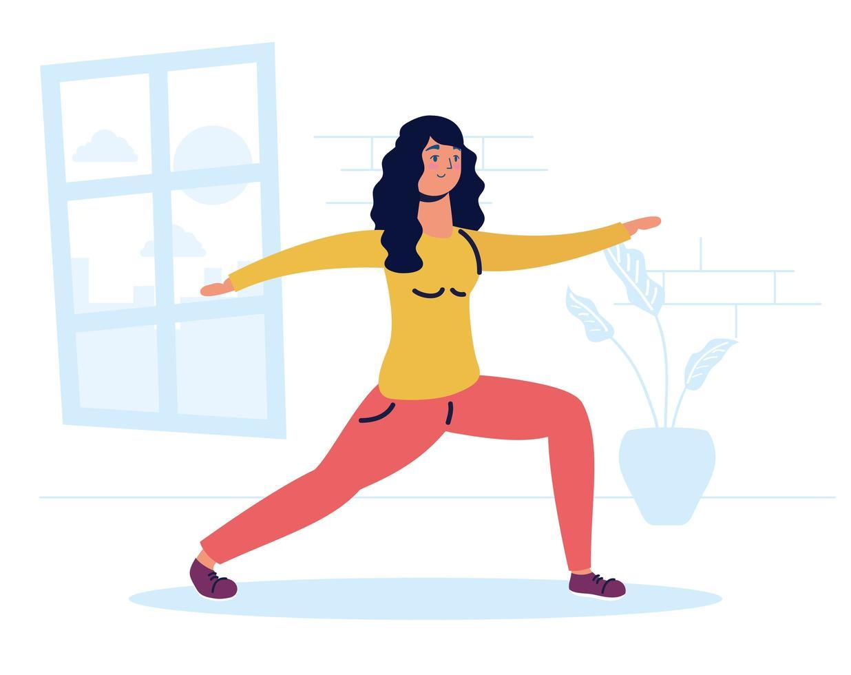 vrouw oefenen in het huis vector