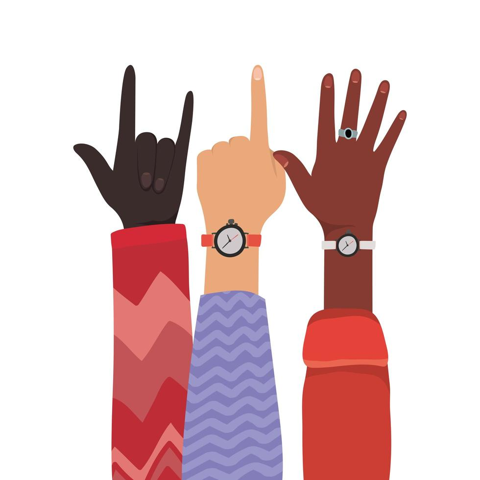 nummer één rotsteken en open handen omhoog vector