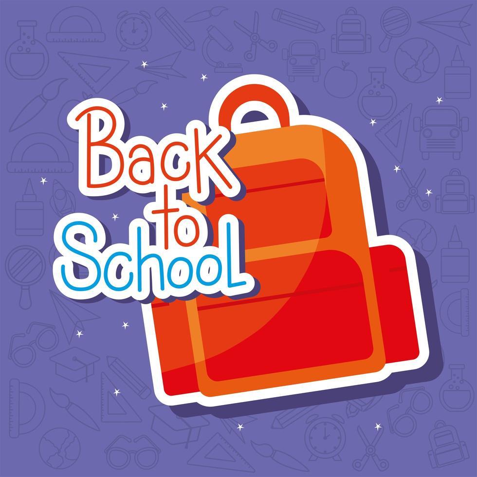 terug naar het ontwerp van de schooltas vector
