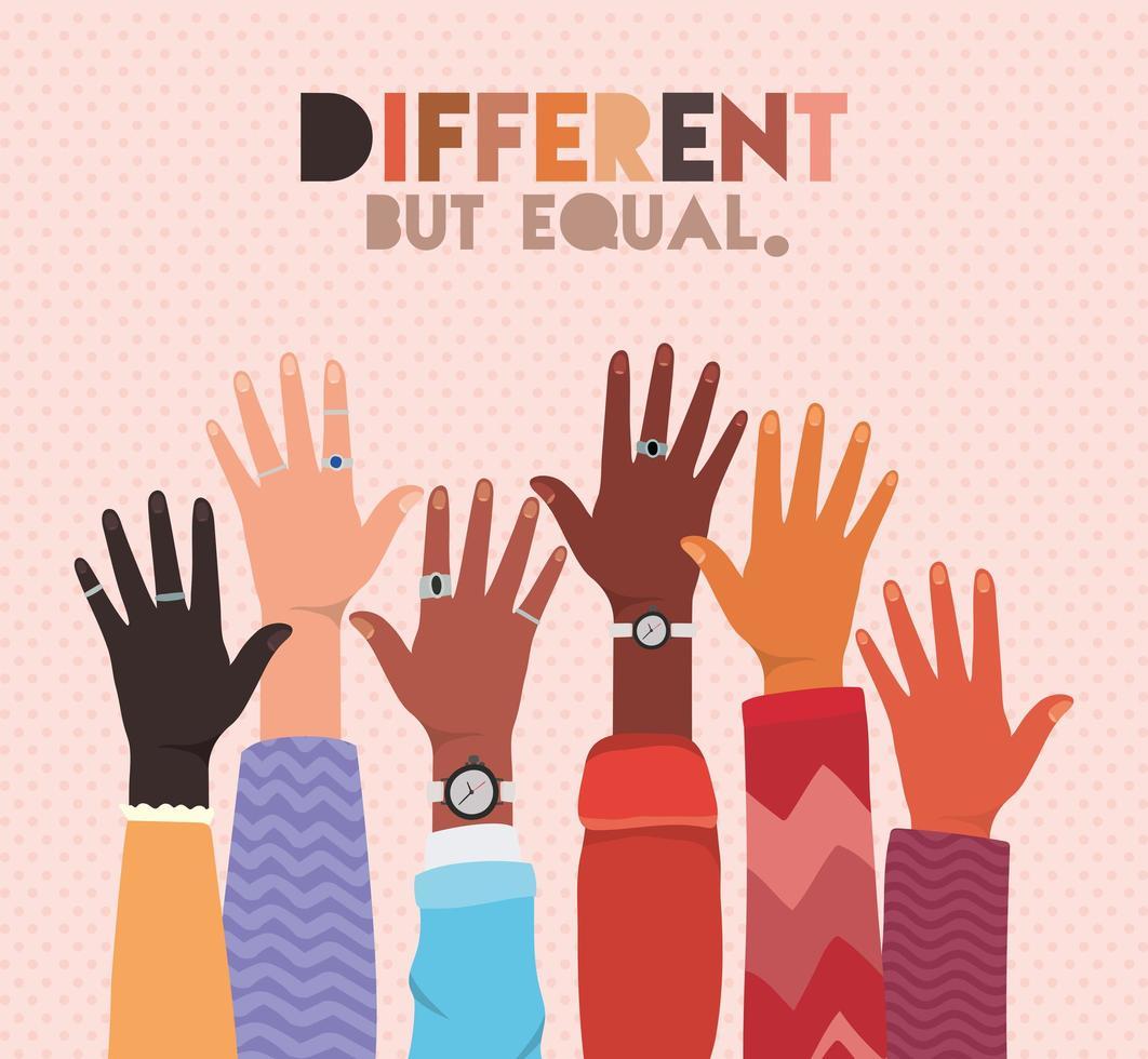 verschillend maar gelijk en diversiteitskinontwerp vector
