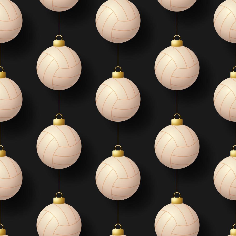 Kerst opknoping volleybal ornamenten naadloze patroon vector