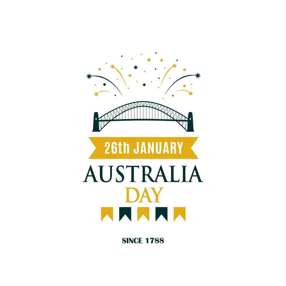 australië dag groet banner met tekst en vuurwerk. vector