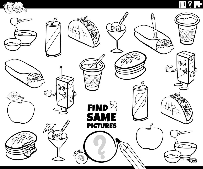 vind twee dezelfde kleurboekpagina met voedselvoorwerpen vector