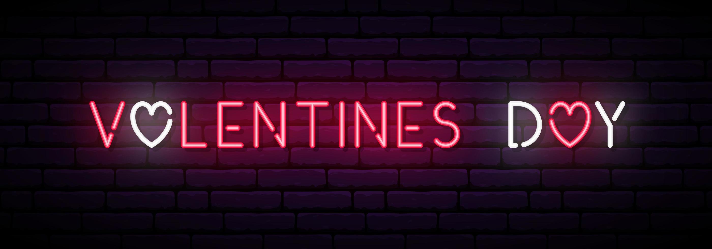 lange neonbanner voor Valentijnsdag. vector