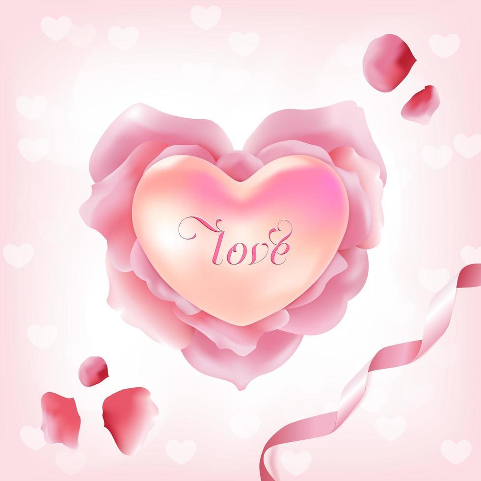 roze rozenblaadjes in hartvorm vector