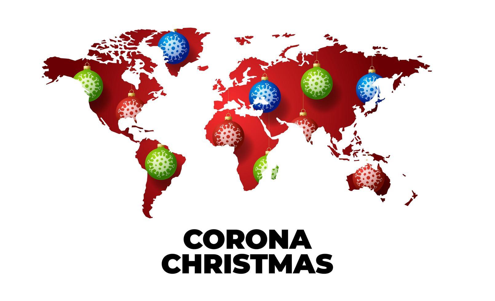 kerst covid wereldkaart met balversieringen vector