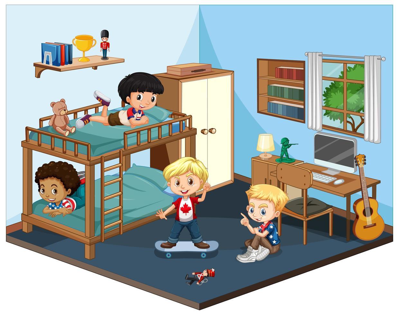 kinderen in de slaapkamerscène op witte achtergrond vector
