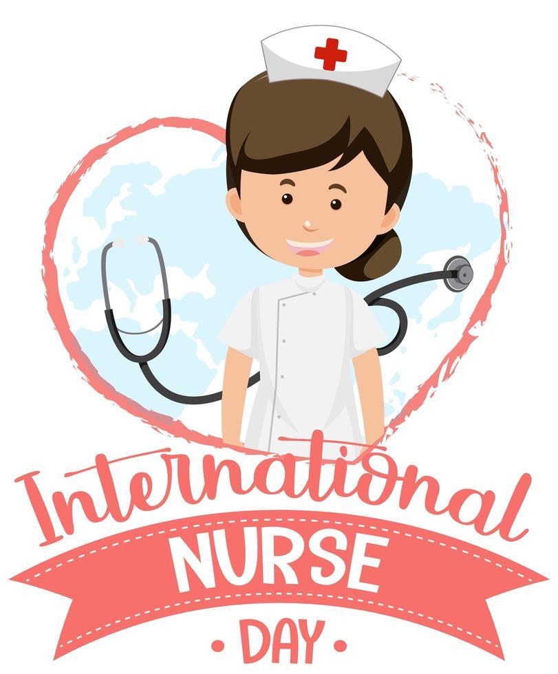 internationaal verpleegster daglogo met schattige verpleegster en stethoscoop vector