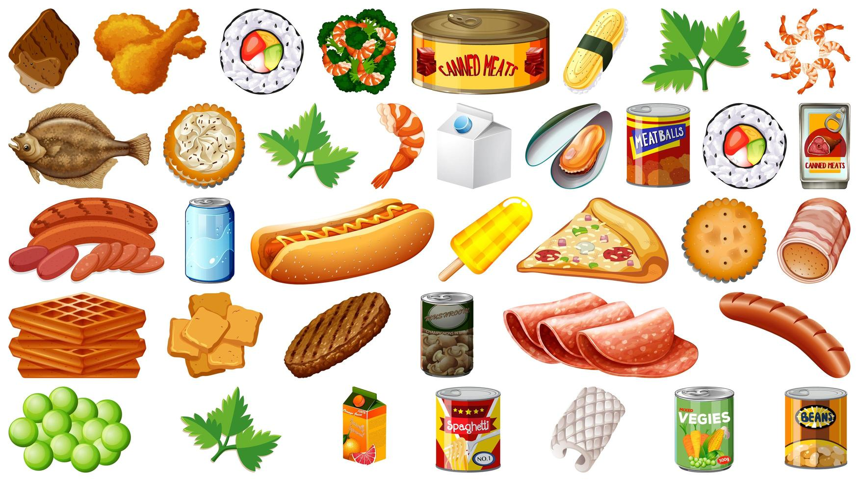 set van voedsel geïsoleerd vector