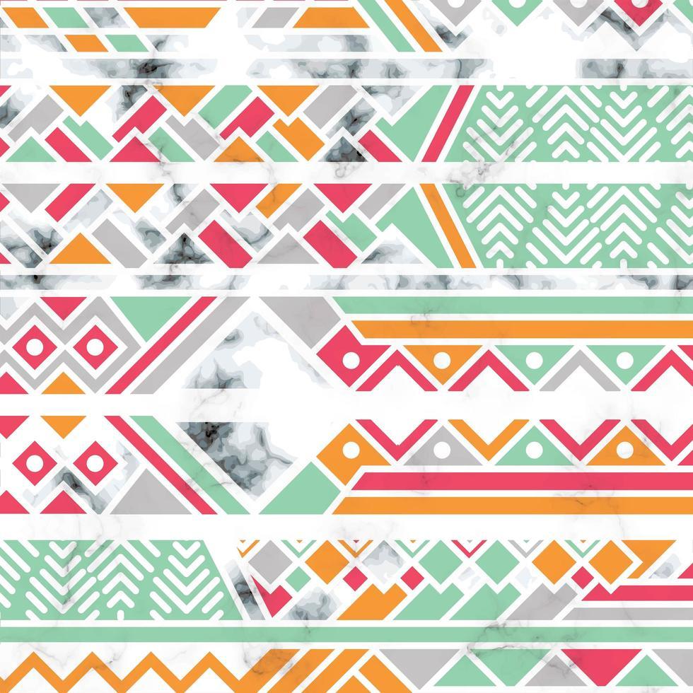 marmeren textuurontwerp met witte geometrische lijnen vector