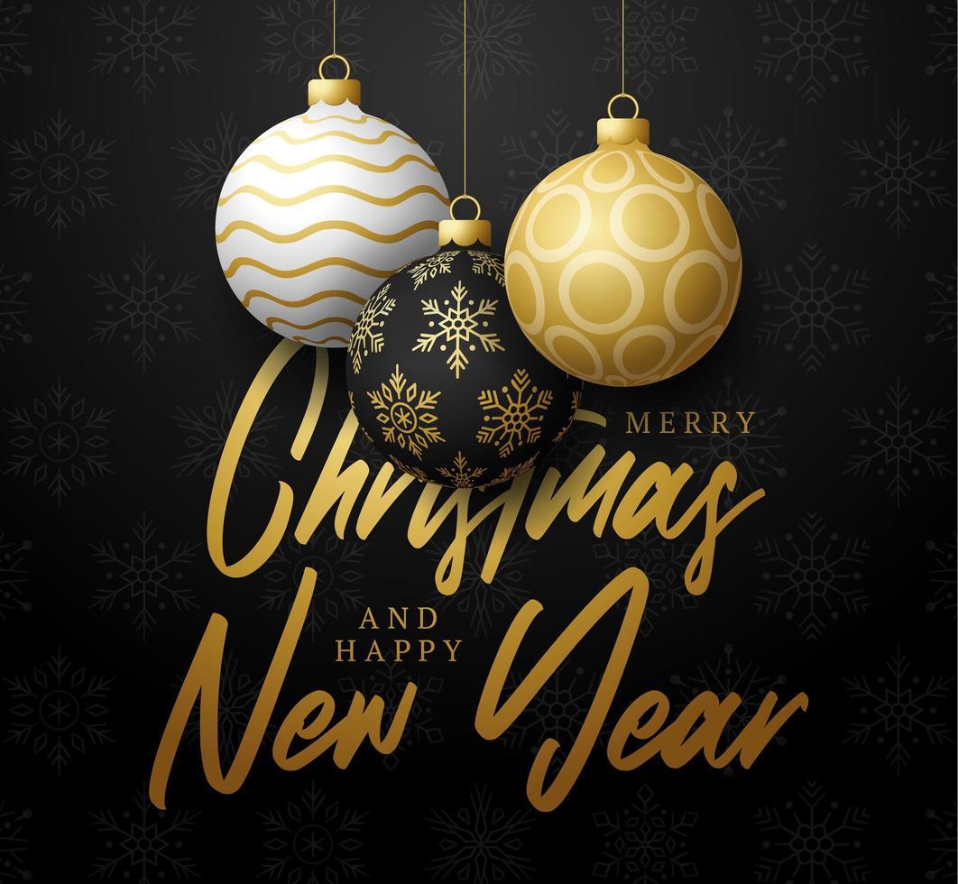 kerstmis en nieuwjaarsaffiche met kerstbalversieringen vector