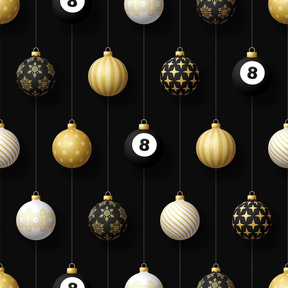 kerst hangende ornamenten en biljartbal naadloze patroon vector