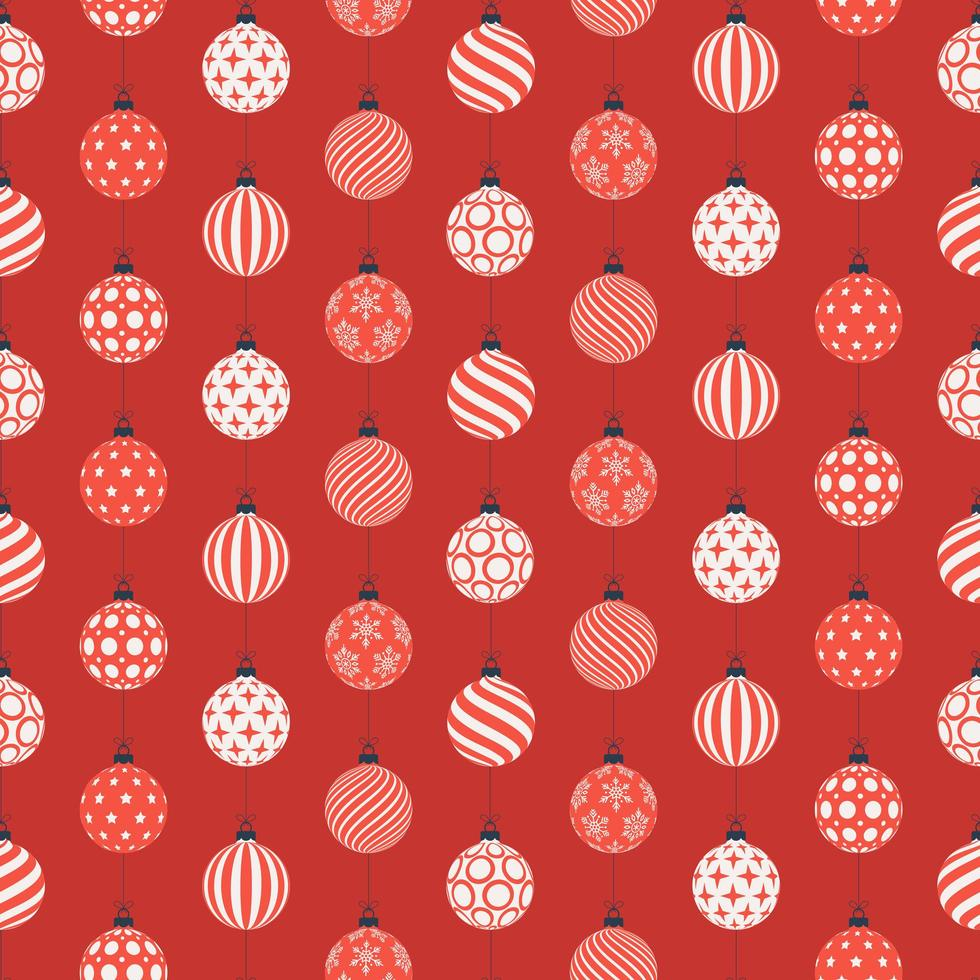 Kerst naadloze patroon met rode en witte ballen vector