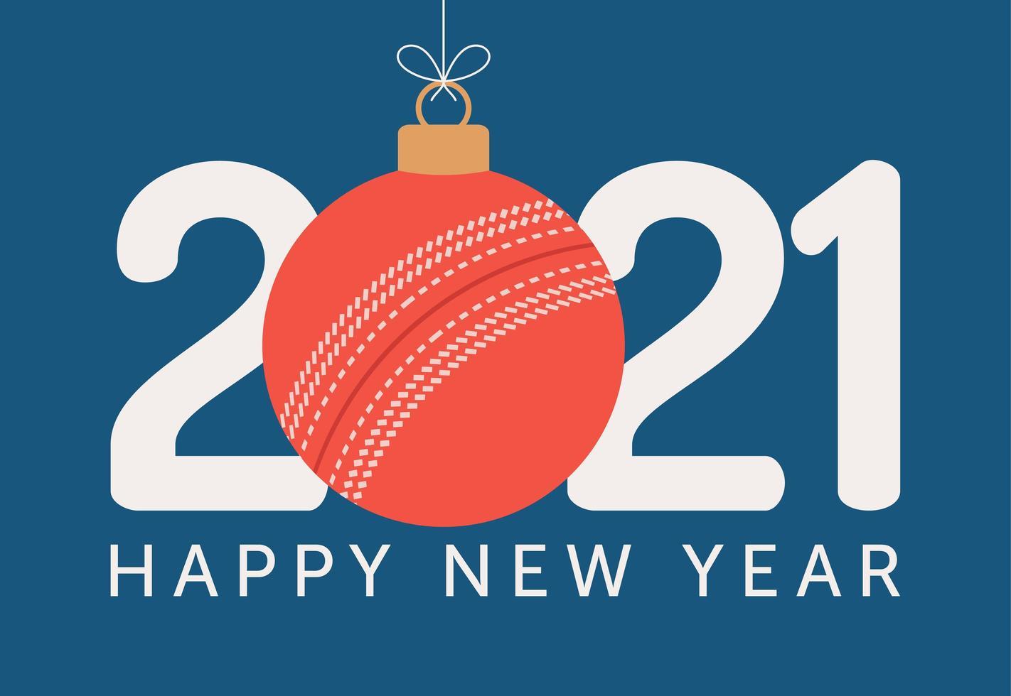 2021 Gelukkig Nieuwjaar typografie met cricket bal ornament vector
