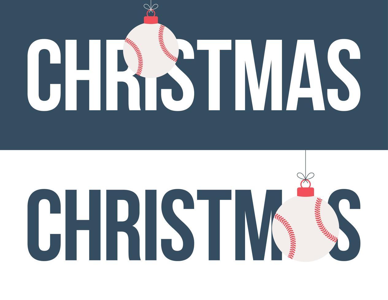 honkbal ornament kerst horizontale banner set vector