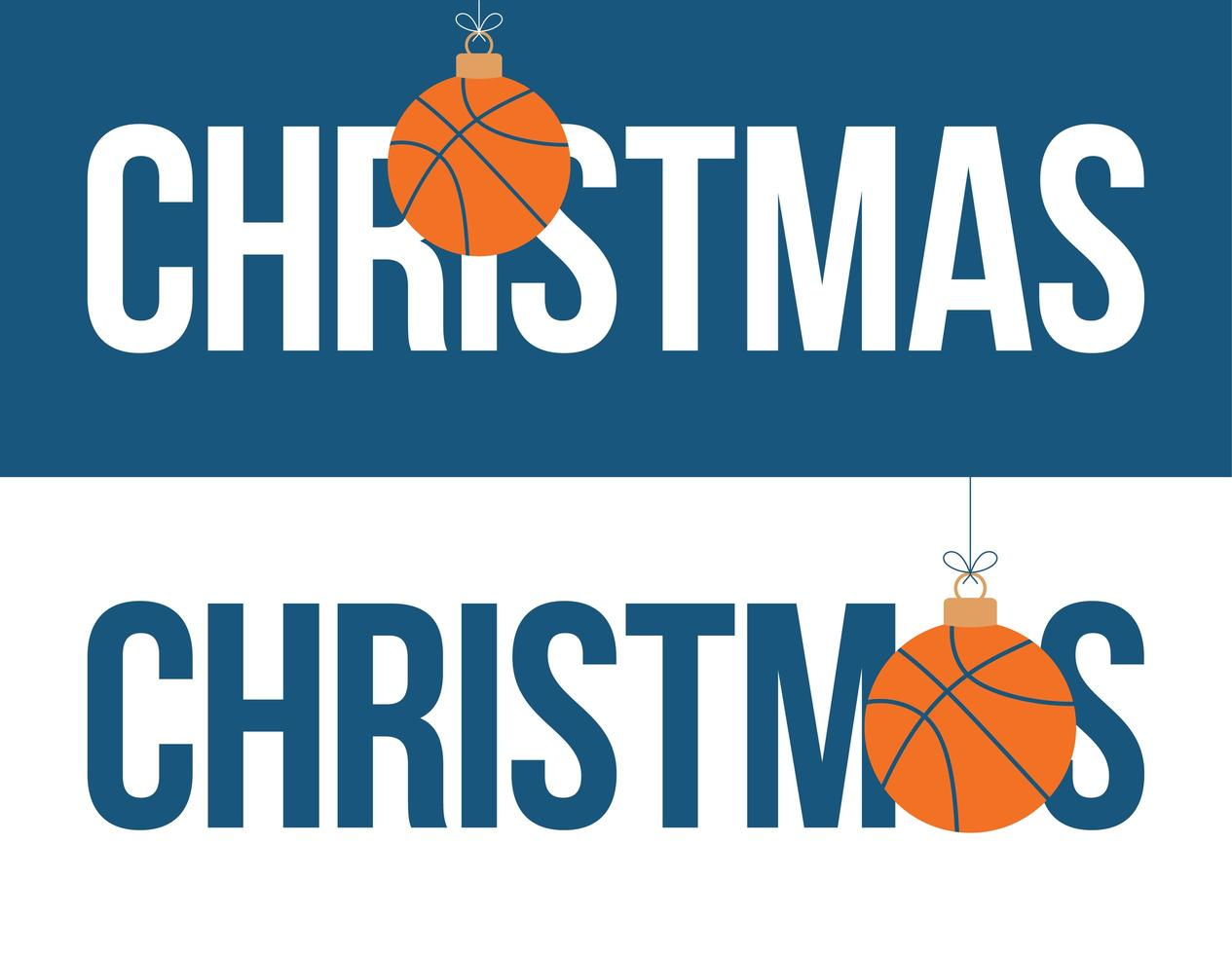 basketbal ornament kerst horizontale banner set vector