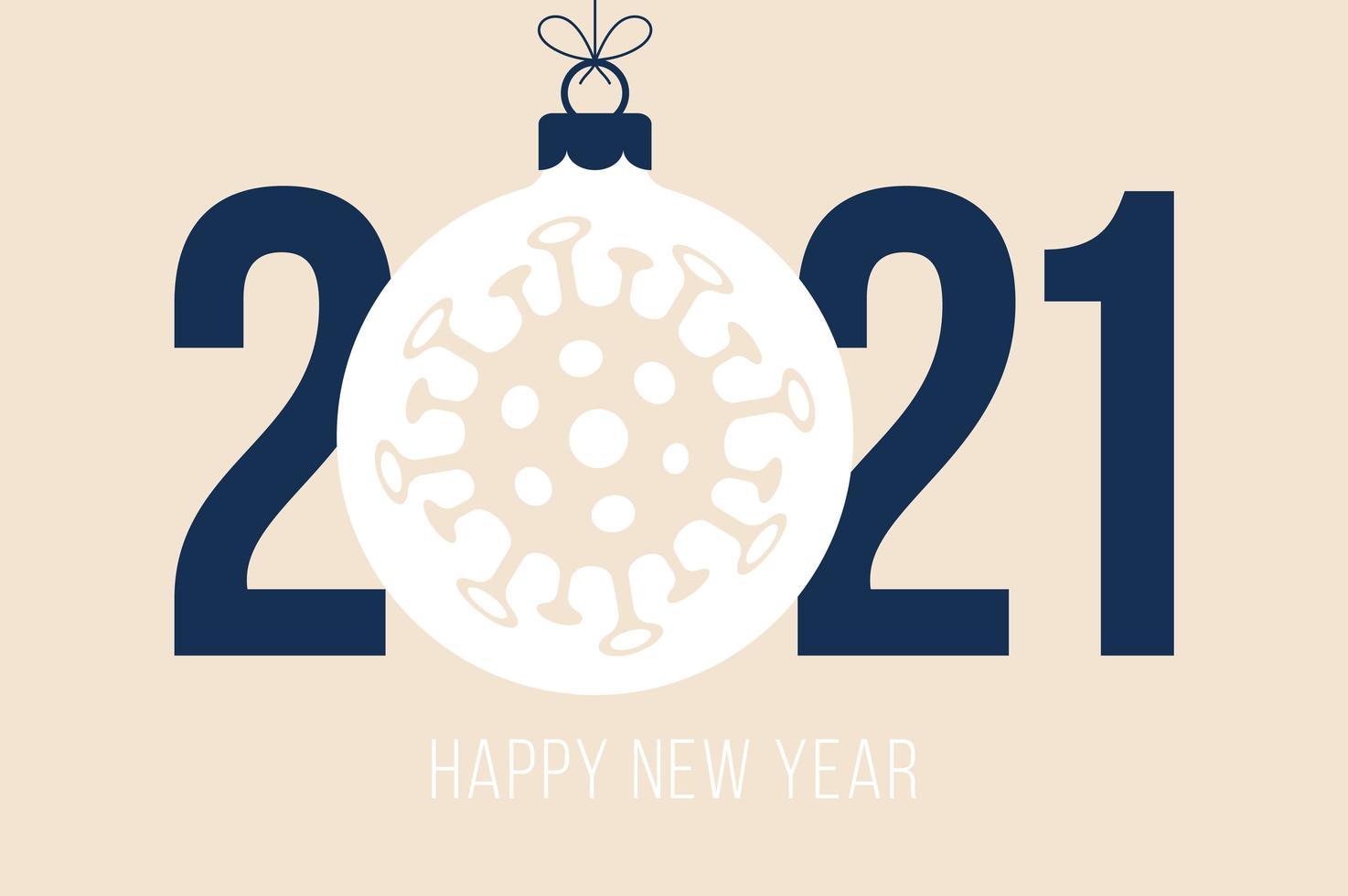 gelukkig nieuwjaar 2021 typografie met coronavirus-ornament vector