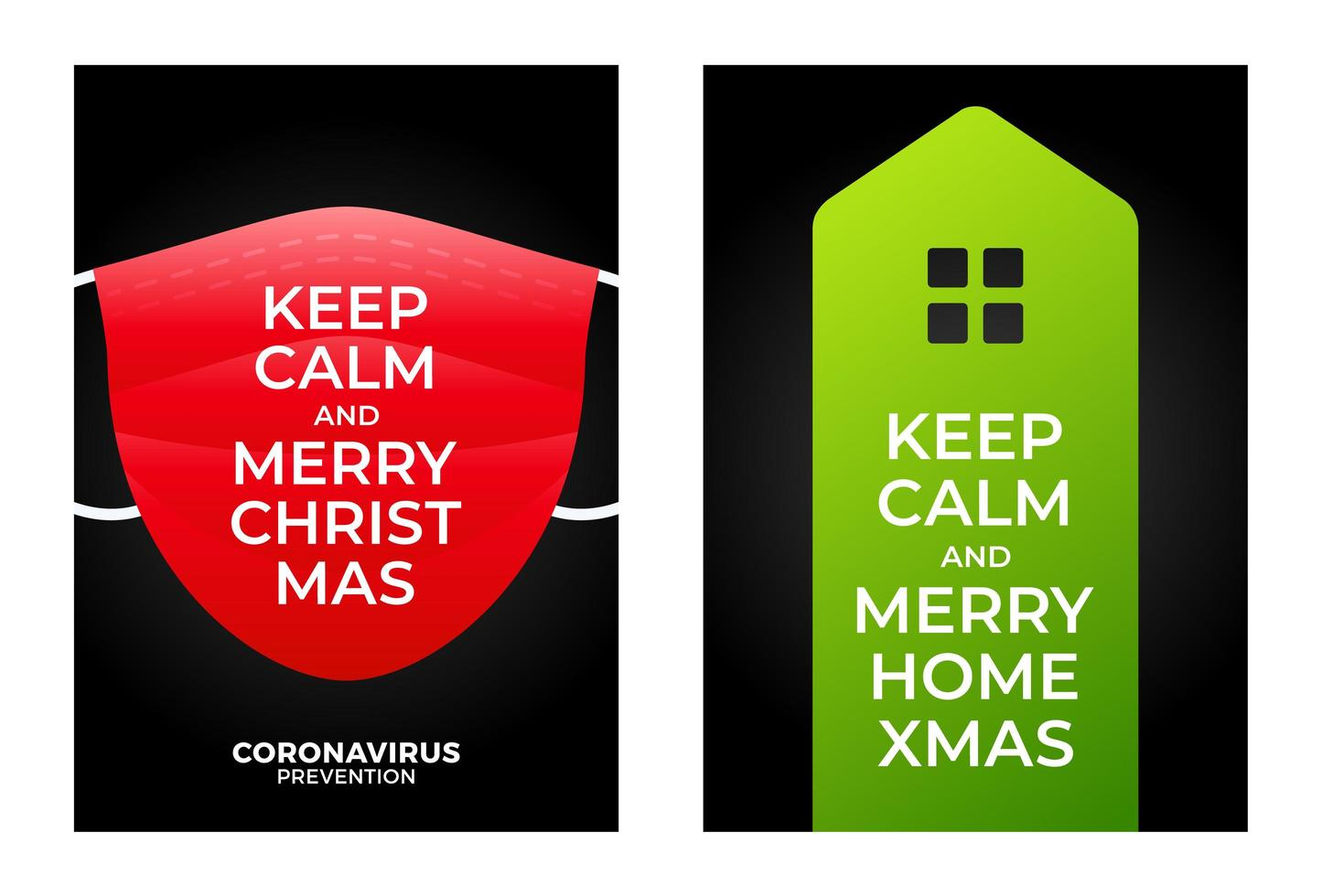 blijf kalm vrolijk huis kerst banner concept vector