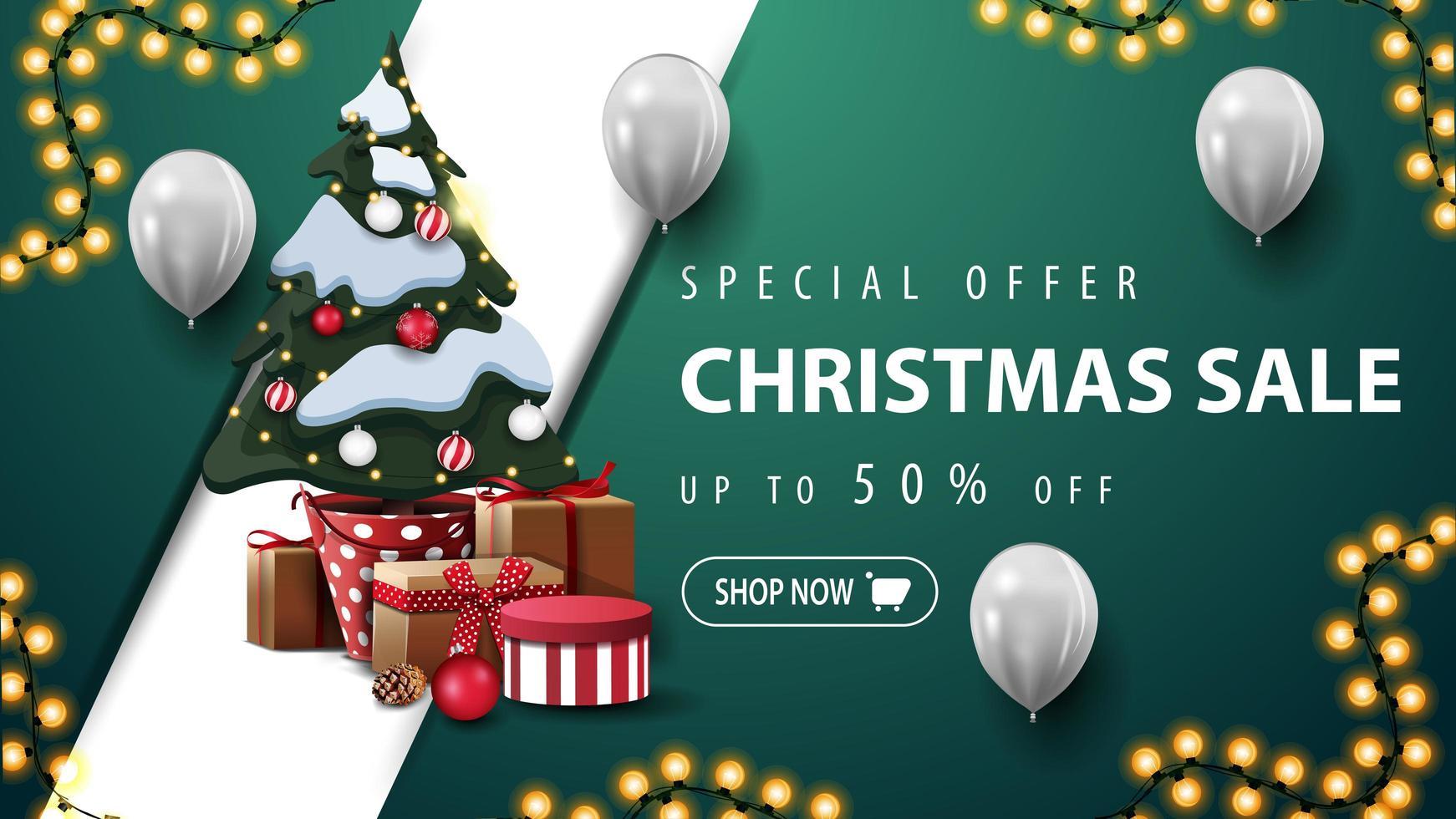 kortingsbanner met slinger, ballonnen en kerstboom vector