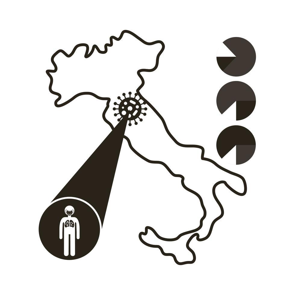 Italiaanse kaart met coronavirus infographic pictogram vector