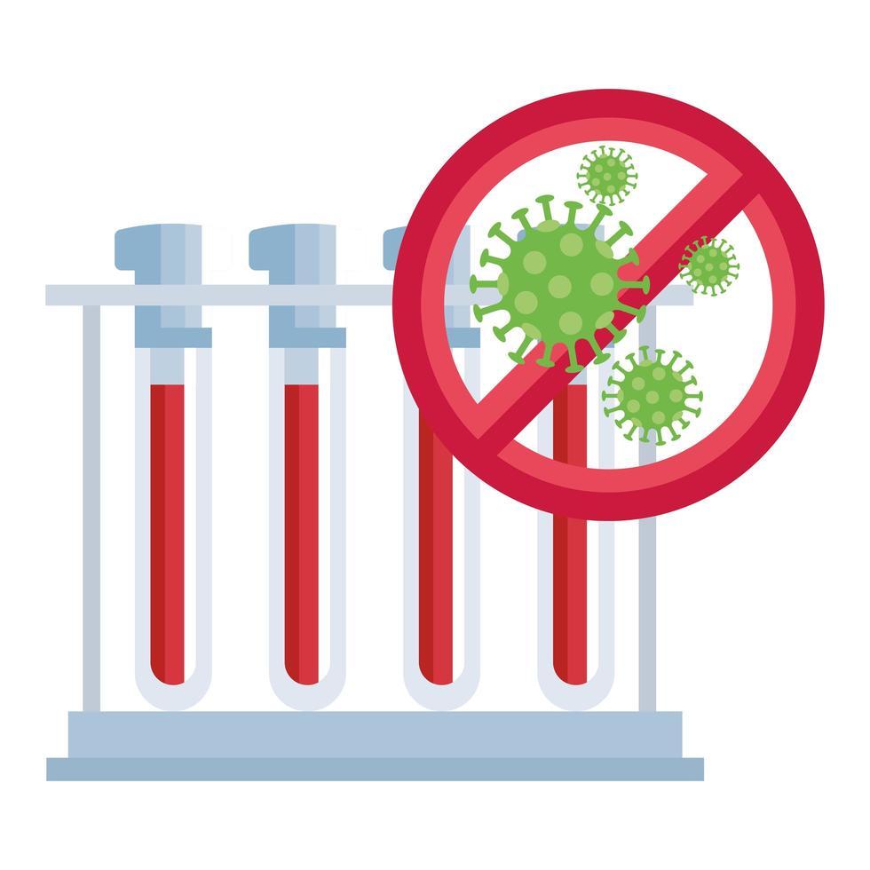 set reageerbuisjes met coronavirus-pictogram vector