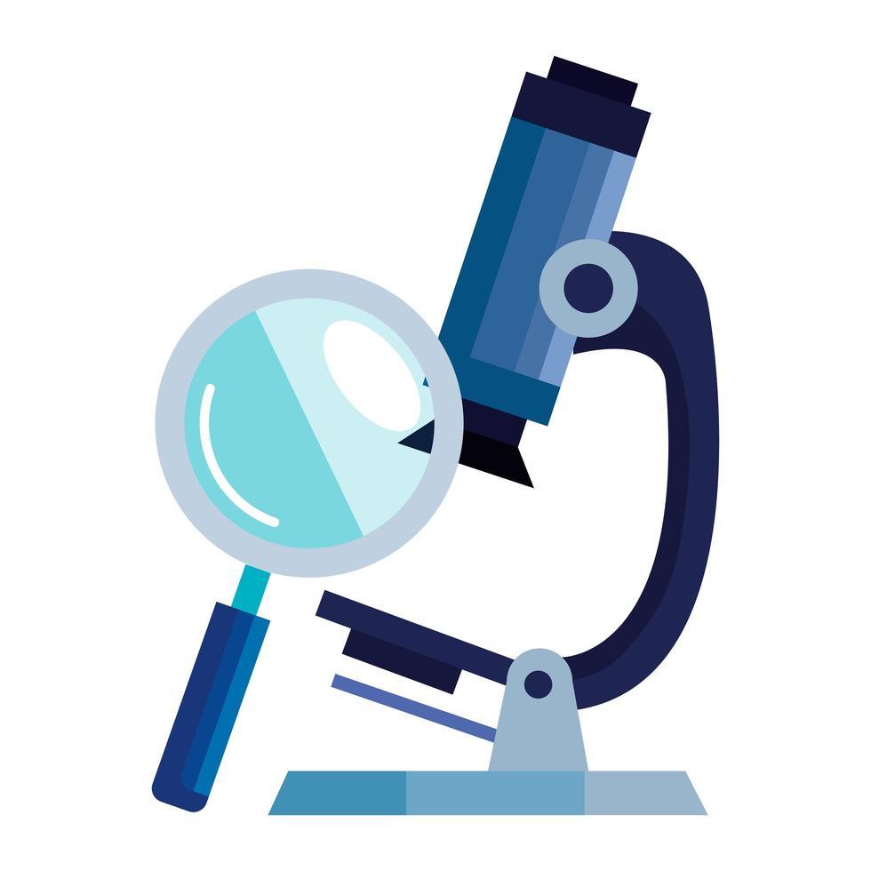microscoop met vergrootglas geïsoleerd pictogram vector