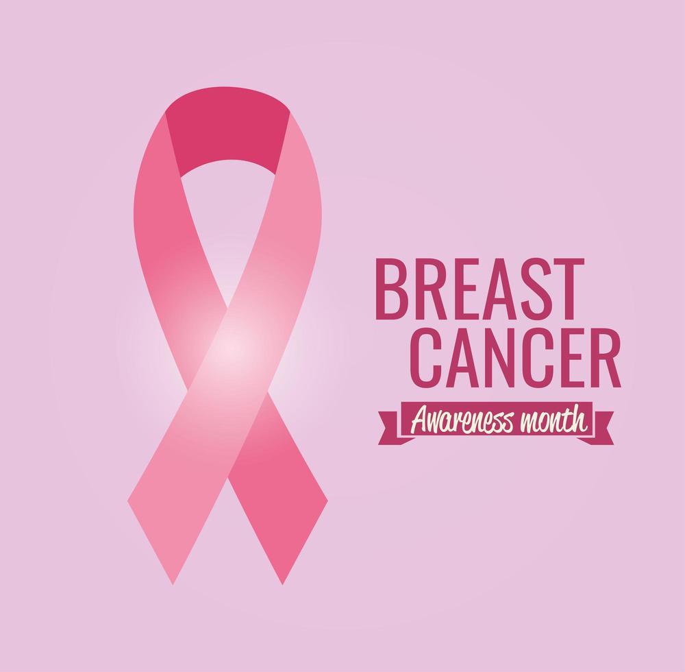 borstkanker bewustzijn maand poster met roze lint vector