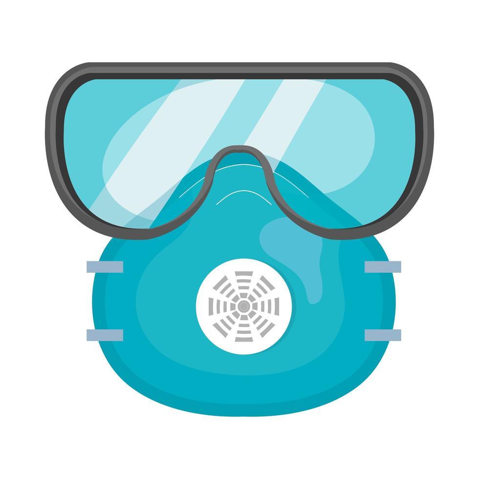 gezichtsmasker en veiligheidsbril geïsoleerde pictogram vector