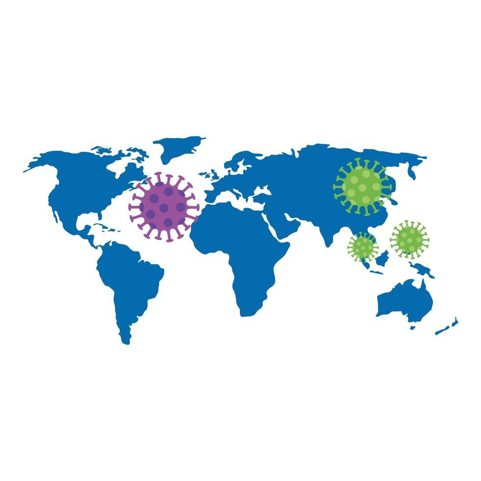 wereldkaart met coronavirus infographic pictogram vector