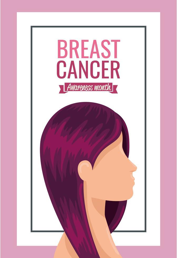 borstkanker bewustzijn maand poster met gezicht van de vrouw vector