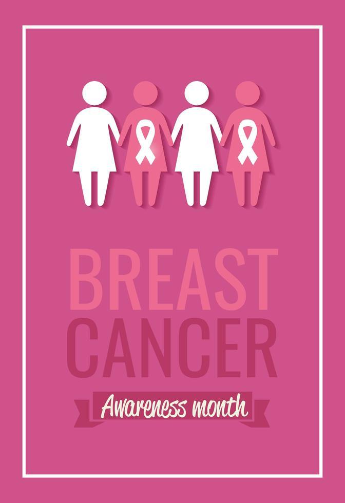 borstkanker bewustzijn maand poster met silhouet van de vrouw vector