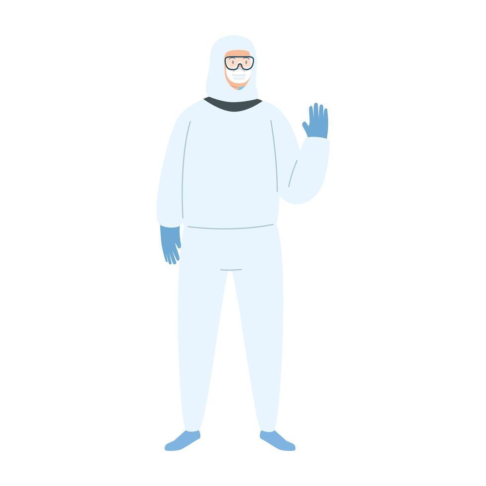 persoon in een hazmat-pak vector