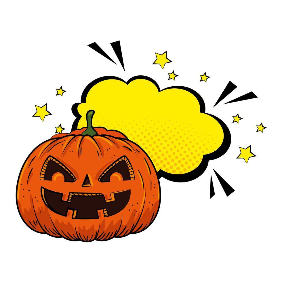 halloween pompoen met pop-art tekstballon vector