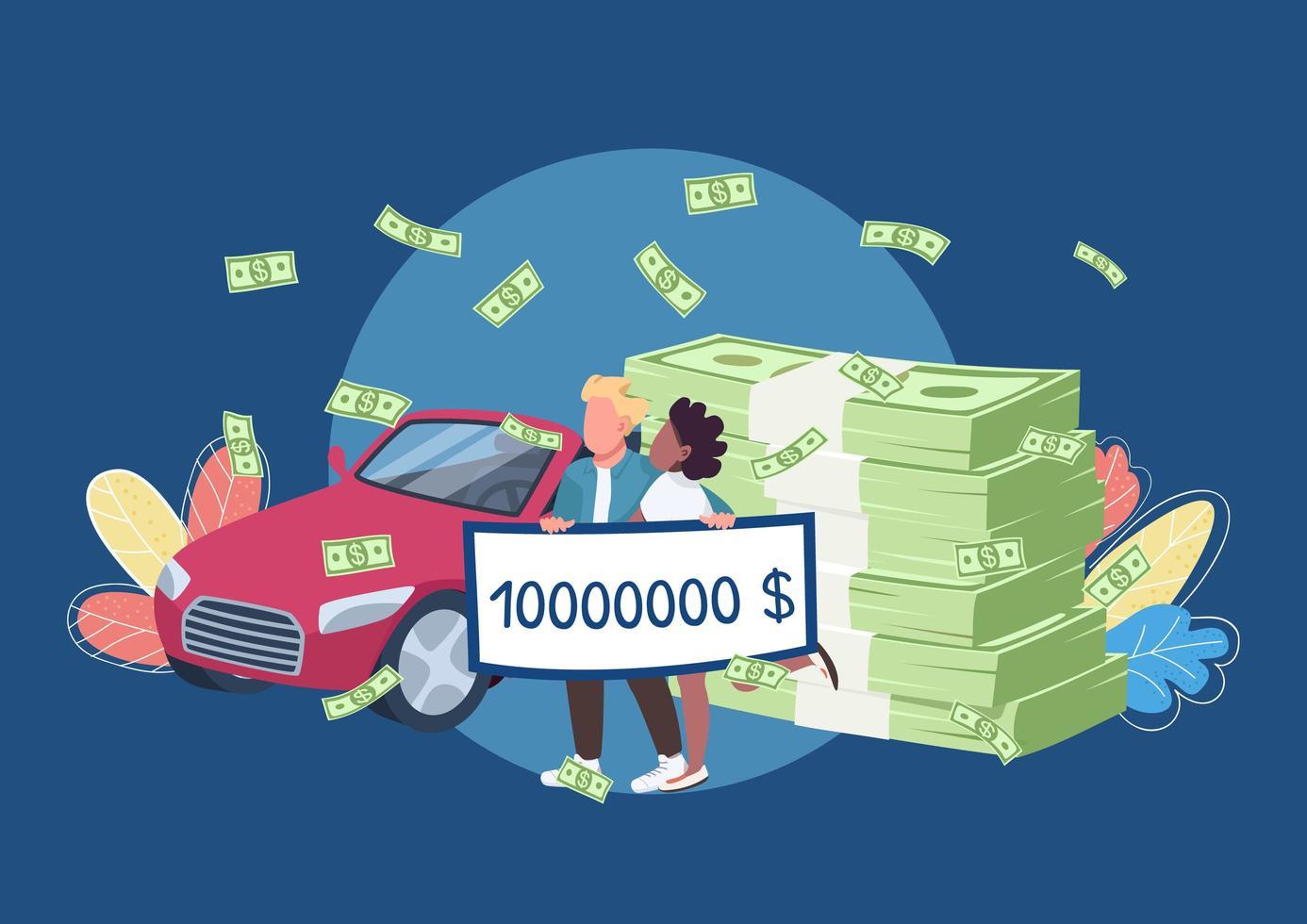 loterijwinnaars met een grote geldcheque vector