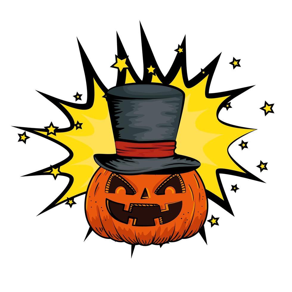 halloween pompoen met hoge hoed vector