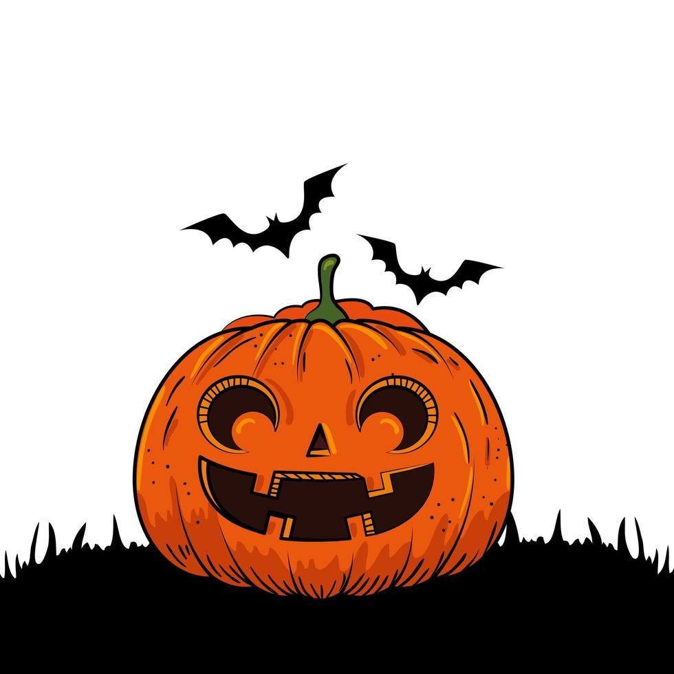 Halloween-pompoen met vleermuizen vector